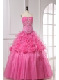 Appliques and Rolling Flowers Organza Rose Pink Quinceanera Dress