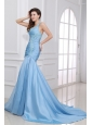 Blue A-Line Sweetheart Taffeta Prom Dresses with Appliques Brush Train