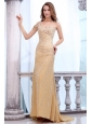 Brush Train Column One Shoulder Gold Prom Dress with Beading