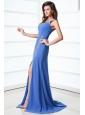 Column Blue One Shoulder Beading and Ruching High Slit Prom Dress