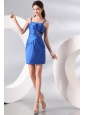Column Straps Blue Ruching and Beading Short Prom Dress