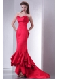 Coral Red Mermaid Sweetheart High-low Prom Dress with Ruffles