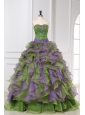 Multi-color Organza Sweetheart Beading and Ruffles Quinceanera Dress