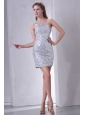 One Shoulder Column Mini-length Sequins Prom Dress for Night Club