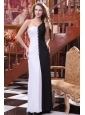 One Shoulder White and Black Ruche Decorate Column Prom Dress