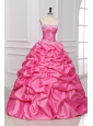 Rose Pink Strapless Appliques and Pick-ups Quinceanera Dress with Taffeta