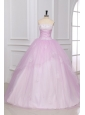 Strapless Appliques Full Length White and Baby Pink Quinceanera Dress