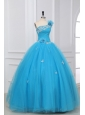 Appliques and Hand Made Flowers One Shoulder Quinceanera Dress in Aqua