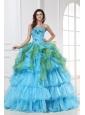 Appliques with Sequins Organza Long Quinceanera Dress in Aqua Blue