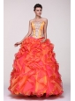 Beading and Rhinestone Strapless Multi-color Quinceanera Dress
