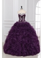 Dark Purple Sweetheart Quinceanera Dress with Appliques and Ruffles