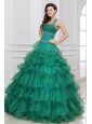 Halter Top Neck Beading and Ruffles Layered Quinceanera Dress