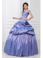 Off The Shoulder Beading and Flowers Taffeta Quinceanera Dress in Lavender