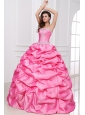 Strapless Appliques and Pick-ups Quinceanera Dress in Rose Pink