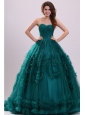 Sweetheart Olive Green Tulle Beading and Ruffles Quinceanera Dress