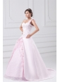 Flowers One Shoulder Baby Pink Wedding Dress with Embroidery