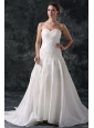 A-Line Sweetheart Taffeta Appliques Court Train Lace Up Wedding Dress