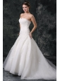 A-Line Tulle Sweetheart Court Train Beading Appliques Lace Up Taffeta Wedding Dress