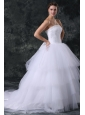 Ball Gown Strapless Court Train Beading Lace Up Tulle Wedding Dress