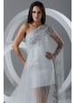 Beautiful A-line One Shoulder Chapel Train Wedding Dress with Side Zipper