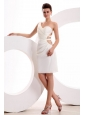 Column One Shoulder Ruching Mini-length Wedding Dress