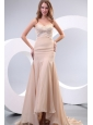 Column Sweetheart Beading Ruching Chanmpagne Wedding Dress