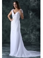 Column V-Neck Cap Sleeves Brush Train Zipper Up Chiffon Wedding Dress