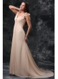 Empire Champagne V-neck Beading Ruching Court Train Chiffon Wedding Dress