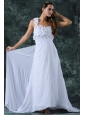 Empire One Shoulder Brush Train Hand Made Flower Zipper Up Chiffon Wedding Dress