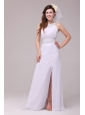 Empire Scoop High Slit Beading Ruching Floor-length Wedding Dress