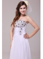 Empire Strapless Beading Ruching Floor-length Wedding Dress