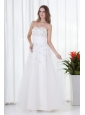 Floor-length Elegant A-line Strapless Wedding Dress with Beading