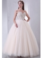 Lace Up Beaded Sweetheart A-line Wedding Dress with Tulle