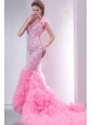Pink Mermaid V-neck Chapel Train Wedding Dress with Beading