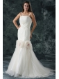 Pretty Brush Train Mermaid Spaghetti Straps Wedding Dress with Flowers