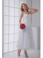 Simple Spaghetti Straps Ankle-length A-line Wedding Dress with Ruches