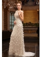 Unique Empire Bateau Brush Train Wedding Dress with Special Fabric