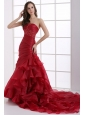 Wine Red Court Train Wedding Dress with Appliques and Ruffles