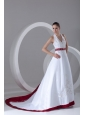 A-Line Halter Embroidery Lace Up Wedding Dress with Satin Chapel Train