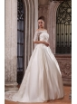 A-Line Off The Shoulder Brush Train Lace Appliques Wedding Dress