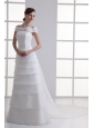 A-Line Off The Shoulder Organza Wedding Dress with Watteau Train