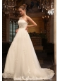 A-Line One Shoulder Chapel Train Appliques Tulle Wedding Dress with Side Zipper