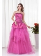 A-line Strapless Beading and Bowknot Quinceanera Dress in Hot Pink
