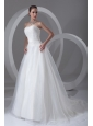 A-line Strapless Ruching Brush Train Organza Wedding Dress