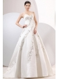 A-Line Straps Embroidery Satin Wedding Dress with Zipper-up