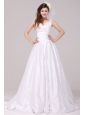 A-Line Straps Embroidery Taffeta Wedding Dress with Brush Train