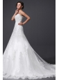 A-Line Sweetheart Appliques and Lace Wedding Dress with Court Train