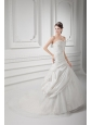 A-line Sweetheart Appliques Ruching Tulle Wedding Dress