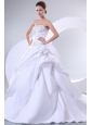 A-Line Sweetheart Embroidery Lace Up Wedding Dress with Brush Train