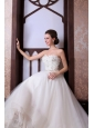 A-Line Sweetheart Floor-length Beading Tulle Wedding Dress
